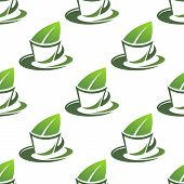 Organic green tea seamless pattern