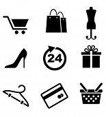 picture of gift basket  - Retail and shopping icons depicting a shopping cart - JPG