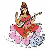 stock photo of saraswati  - Hindu Goddess Saraswati - JPG