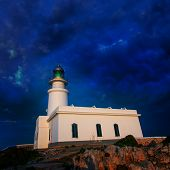 picture of faroe islands  - Menorca sunset in Faro Far de Caballeria Lighthouse at Balearic Islands es Mercadal - JPG