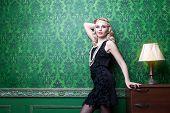 Beautiful Blonde In Green Vintage Room