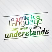 stock photo of understanding  - A smile is a language that even a baby understands - JPG