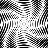 Design Monochrome Whirl Movement Illusion Background. Abstract Striped Lines Distortion Backdrop