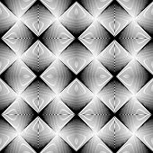Design Seamless Uncolored Geometric Pattern. Abstract Diamond Interlacing Textured Background