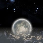 Moon and clouds with stars