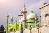 picture of mosk  - Green Mosque at violet sky in Kovalam Kerala India - JPG