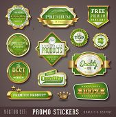 set of green and golden promo seals/stickers - quality and service