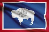 Series Of Ruffled Flags. State Of Wyoming.