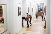 MOSCOW, RUSSIA - NOV 21, 2013: Students in hallway of Russian State University of Cinematography. Fi
