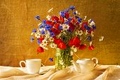 Still Life Bouquet Camomiles Cornflowers Poppies