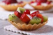Fruit Tartlets With Strawberries, Kiwi Horizontal