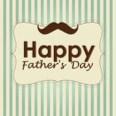 stock photo of mustache  - a retro icon with a mustache and text in a striped background for father - JPG