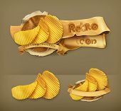 Potato chips, retro vector icon