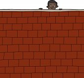 Boy Looking Over Wall