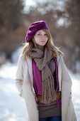 Portrait of a beautiful girl in the winter. Winter girl.