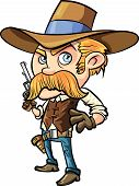 stock photo of wrangler  - Cute cowboy cartoon with mustache - JPG