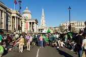 Crowds Of People In Trafalgar Square For St Patrick's Day Celebrations