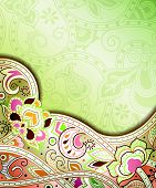 picture of curvy  - Illustration of abstract floral background in asia style - JPG