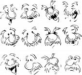 picture of hairy tongue  - Vector set of old men facial expression in comic style - JPG