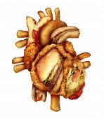 foto of cardiovascular  - Dangerous heart diet and unhealthy food concept with human cardiovascular anatomy organ made from unhealthy and fried fast food as fries and burgers as a metaphor for dieting and nutrition problems - JPG