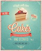 stock photo of fancy cake  - Vintage Cakes Poster - JPG