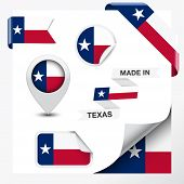 stock photo of texans  - Made in Texas collection of ribbon label stickers pointer badge icon and page curl with Texan flag symbol on design element - JPG