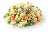homemade frozen vegetables on white background