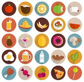 stock photo of fruits  - Food and Drinks Flat Design Icons Set - JPG