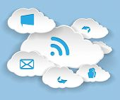 Illustration Clouds for Social Networks on Blue Background. Cloud Computing Concept.