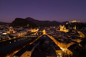 stock photo of mozart  - Dusk time at the view point of Salzburg - JPG