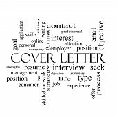 stock photo of summary  - Cover Letter Word Cloud Concept in black and white with great terms such as interview resume summary and more - JPG
