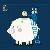 Flat Design Illustration Concept Of Time Is Money