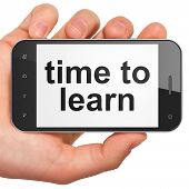Time concept: Time to Learn on smartphone