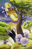 pic of propeller plane  - The cartoon yellow retro propeller airplane with the surprised pilot is flying over the haughty shepherd and his small flock of sheep.