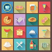 set of dish and food icons in flat design style
