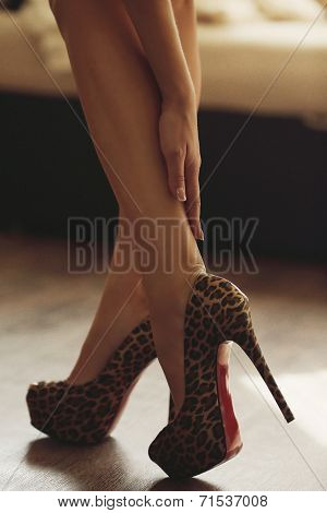 Sexy womanish leg in shoes poster