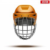 Classic orange Goalkeeper Ice Hockey Helmet isolated on Background. Vector.