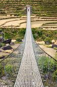 Rope Hanging Suspension Bridge In Nepal
