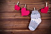 Baby Stockings With Heart On A Line