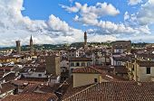Bird eye panoramic view of Florence from one of many towers, Tuscany