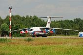 NIZHNY NOVGOROD. RUSSIA. JULY 31, 2014. STRIGINO AIRPORT.The IL-76 plane on parking.