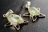 foto of pentacle  - Pair of gold plated green prehnite pendants on black stone - JPG