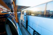 stock photo of car-window  - view of the tourist bus through the window - JPG