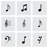Vector black notes icons set