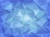 image of poka dot  - abstract background of dark and light blue polygon and poka dot style - JPG