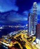 Hong Kong highrise buildings at night