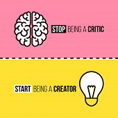 Flat Line Icons Or Brain And Light Bulb. Critic Vs. Creator Concept