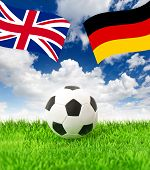 Football Field And National German And British Flag