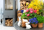 Home Interior With Spring Flowers And Easter Decoration