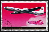 Postage Stamp North Korea 1978 Ilyushin Il-18 Airliner
